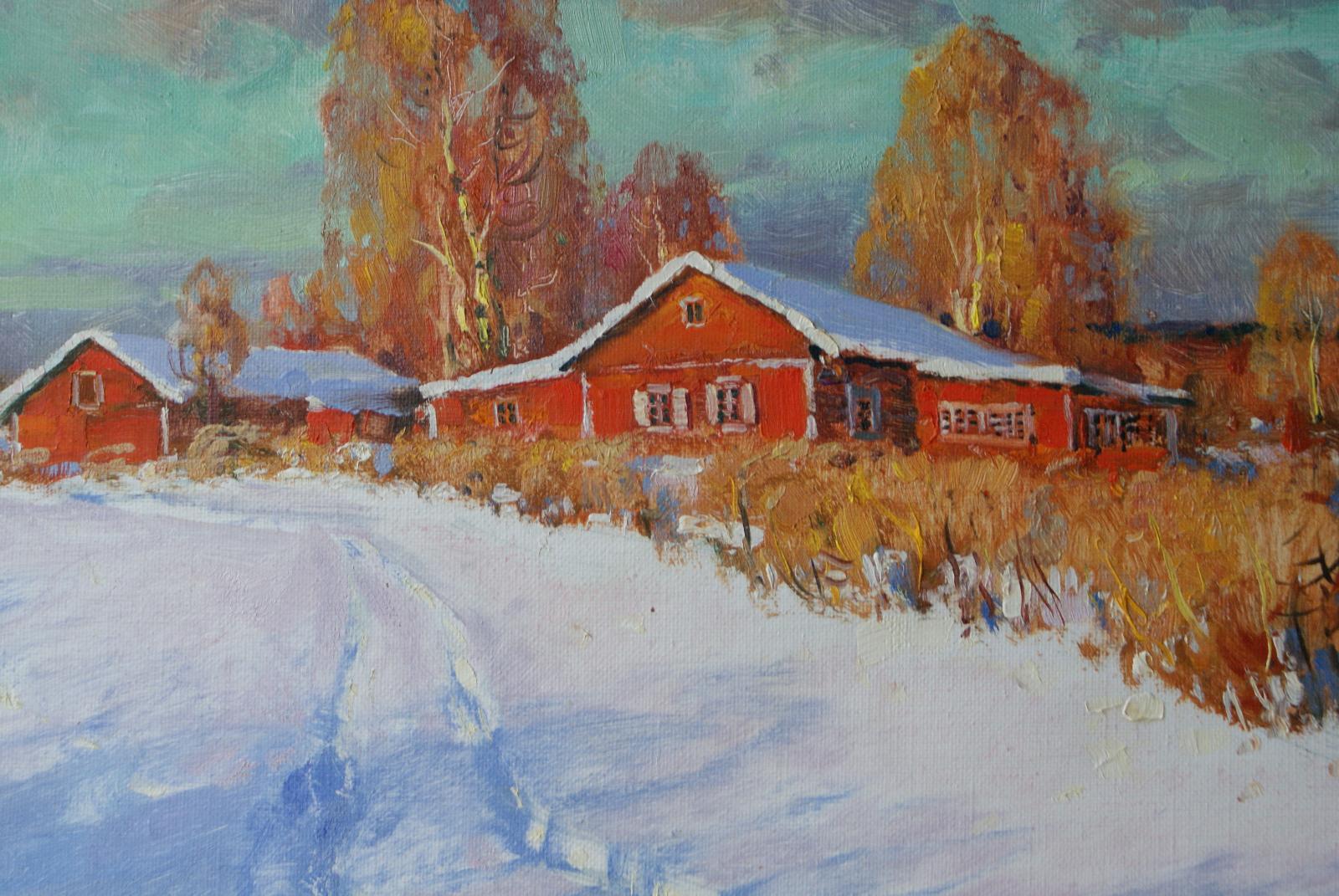 landschaft winter weg in sibirien alexej kaperp l auf leinwand aus der region kaufen. Black Bedroom Furniture Sets. Home Design Ideas